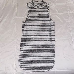 Grey and white high neck tank